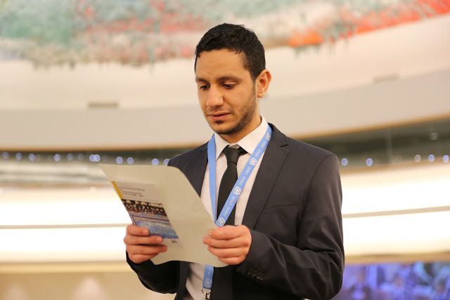 Sayed Ahmed AlWadaei at the HRC in Geneva this month.