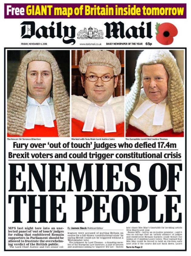 The Daily Mail's front page after the High Court ruling in