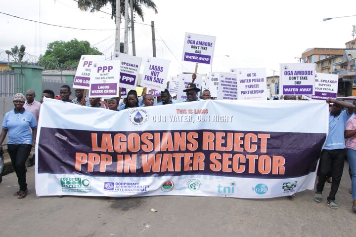People protest public-private partnerships in Lagos on World Water Day.