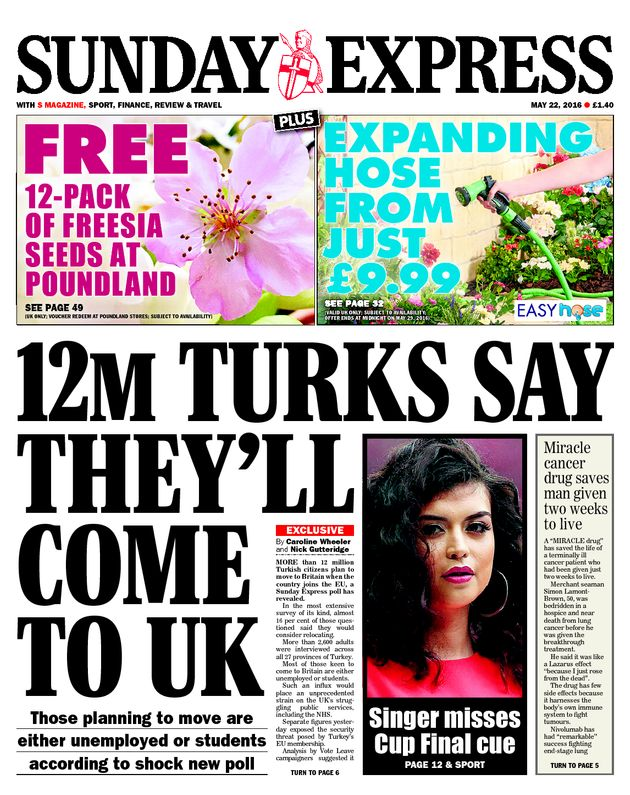The Sunday Express's 'misleading' claim about Turks wanting to come to