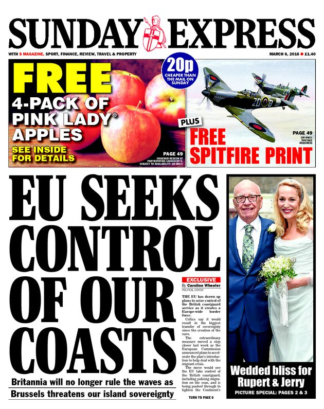 The March 2016 front page which wrongly claimed the EU had plans to control the UK's