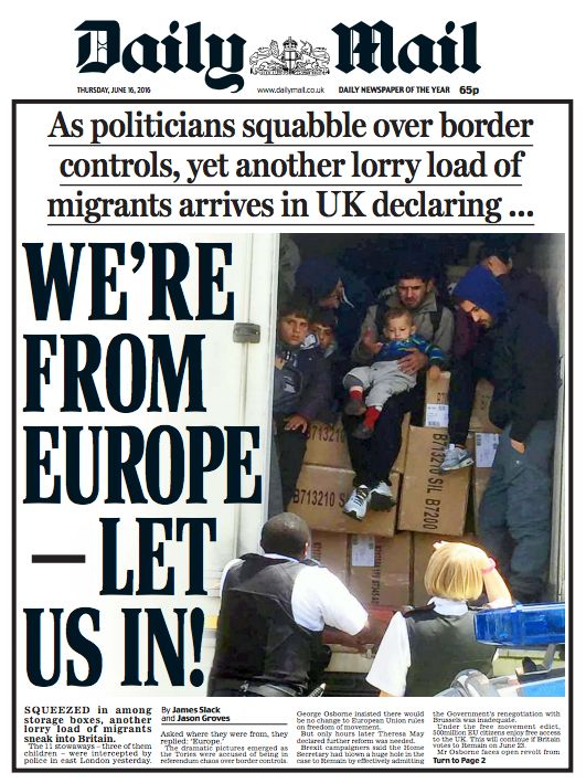 The Daily Mail's front page misreported the words of migrants found in a lorry last