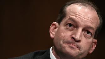 WASHINGTON, DC - MARCH 22:  Labor Secretary nominee Alexander Acosta testifies before the Senate Health, Education, Labor and Pensions Committee during his confirmation hearing March 22, 2017 in Washington, DC. Acosta was questioned by members of the committee on his opinions relating to overtime rules during the early portion of the hearing.  (Photo by Win McNamee/Getty Images)