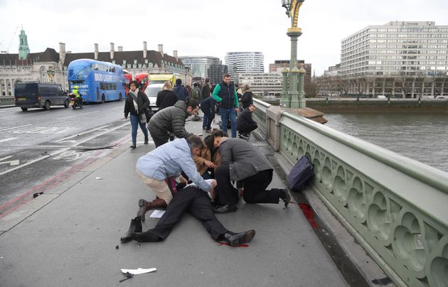People rushed to treat the injured after the attack on Westminster