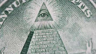 A close up of the eye of providence on a one dollar bill