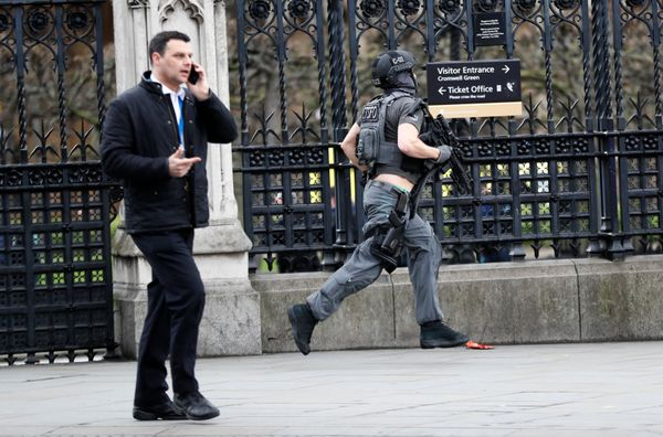 Armed police respond outside Parliament.