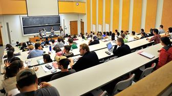 On Friday, September 13, 2013, plenty of room for more as USM students await the start of their chemistry class in the Lecture Hall where Chemistry Professor Lucille Benedict is holding her class.  (Photo by Gordon Chibroski/Portland Press Herald via Getty Images)