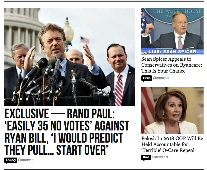 Breitbart's home page on Wednesday.