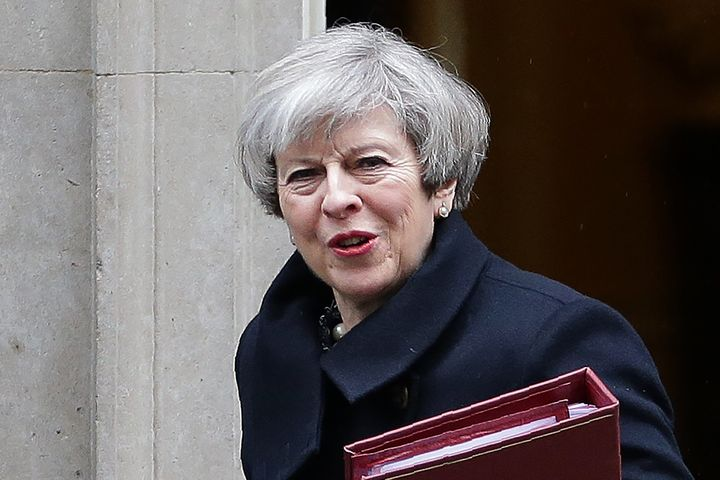 Theresa May leaves Downing Street earlier on Wednesday, her current location is unknown