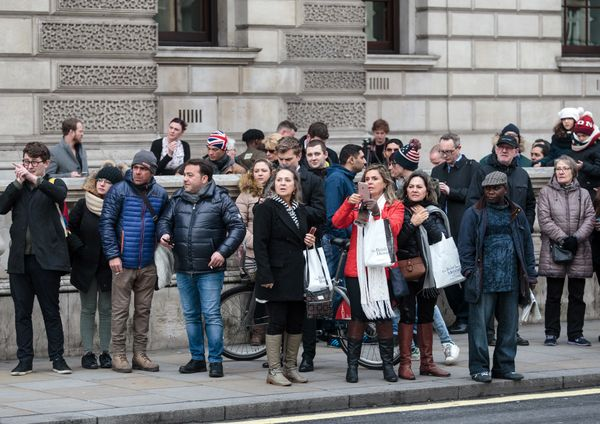 Members of the public look on as roads are closed off by police around Westminster Bridge and the Houses of Parliament.