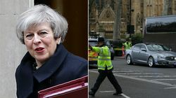 Theresa May Bundled Into Armoured Car During Westminster