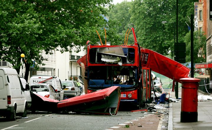 Debris is seen around a destroyed number 30 double-decker bus after it was struck by a bomb on July 7, 2005.