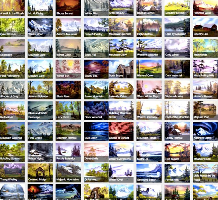 Someone Organized All 403 Of Bob Ross Paintings On One