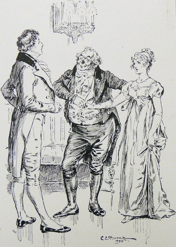 Elizabeth Bennet is introduced to Fitzwilliam Darcy in an illustrated scene from <i>Pride and Prejudice</i>.