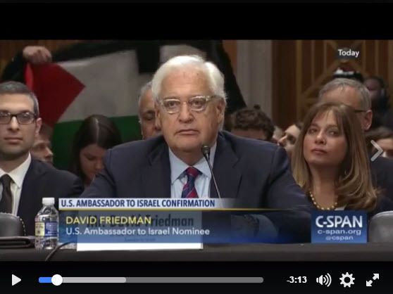 Taher Herzallah, a Palestinian American protests at the Senate Foreign Relations Committee's first hearing on nomination of D