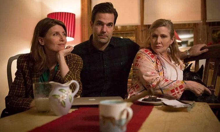 Carrie Fisher with 'Catastrophe' stars and creators, Sharon Horgan and Rob