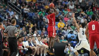 BUFFALO, NY - MARCH 18: Wisconsin Badgers forward Nigel Hayes (10) hits a 3-point field goal during the NCAA Division 1 Men's Basketball Championship game between Wisconsin Badgers and Villanova Wildcats at the Key Bank Center in Buffalo, NY. (Photo by Jerome Davis/Icon Sportswire via Getty Images)
