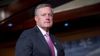 UNITED STATES - FEBRUARY 15: Rep. Mark Meadows, R-N.C., chair of the House Freedom Caucus, arrives to hold a news conference on Affordable Care Act replacement legislation on Wednesday, Feb. 15, 2017. (Photo By Bill Clark/CQ Roll Call)