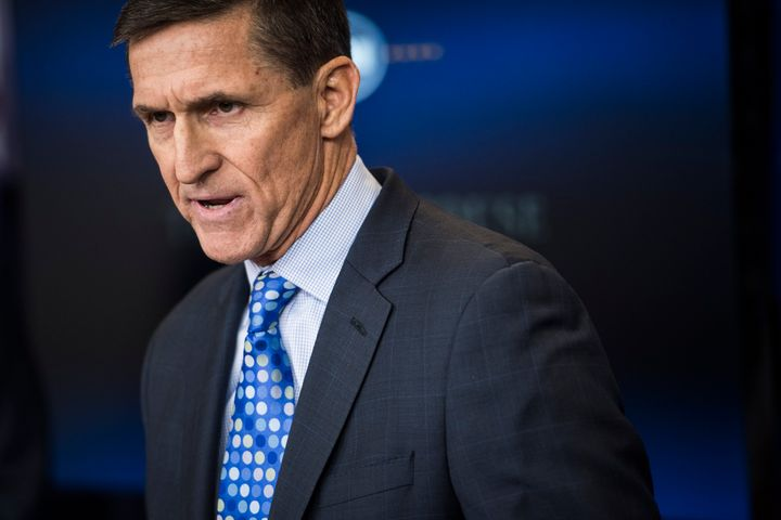 Michael Flynn, who at the time was the national security adviser, speaks during adaily news briefing at the White House