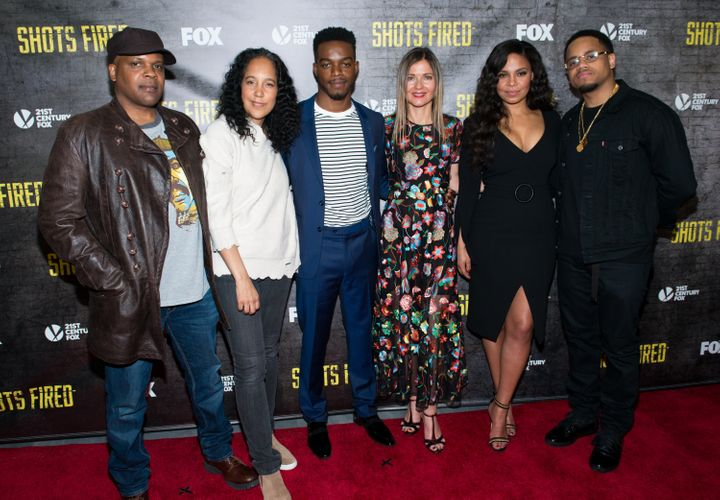 "(L-R) Reggie Rock Bythewood, Gina Prince-Bythewood, Stephen James, Jill Hennessy, Sanaa Lathan and Mack Wilds attend the ""Sho"