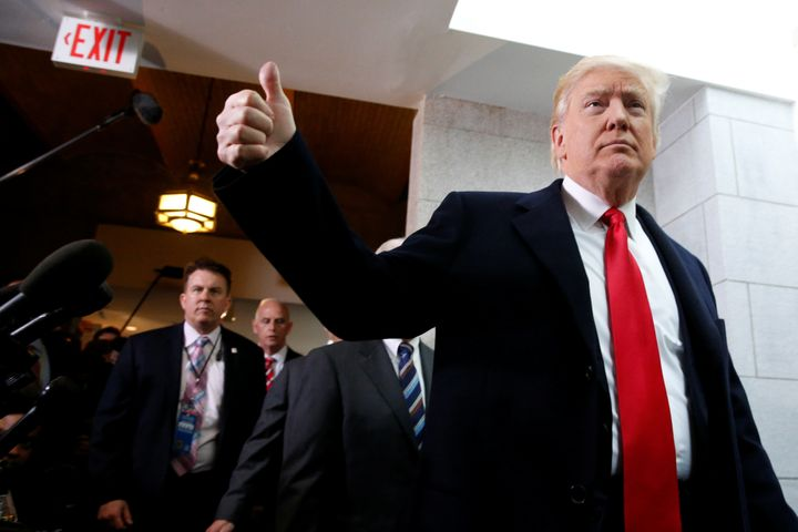 President Donald Trump arrives to meet with congressional Republicans at the Capitol on Tuesday. He attempted to rally H