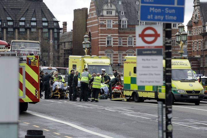 "Vox.Com: ""Emergency services staff provide medical attention close to the Houses of Parliament in London, Wednesday, March 22"
