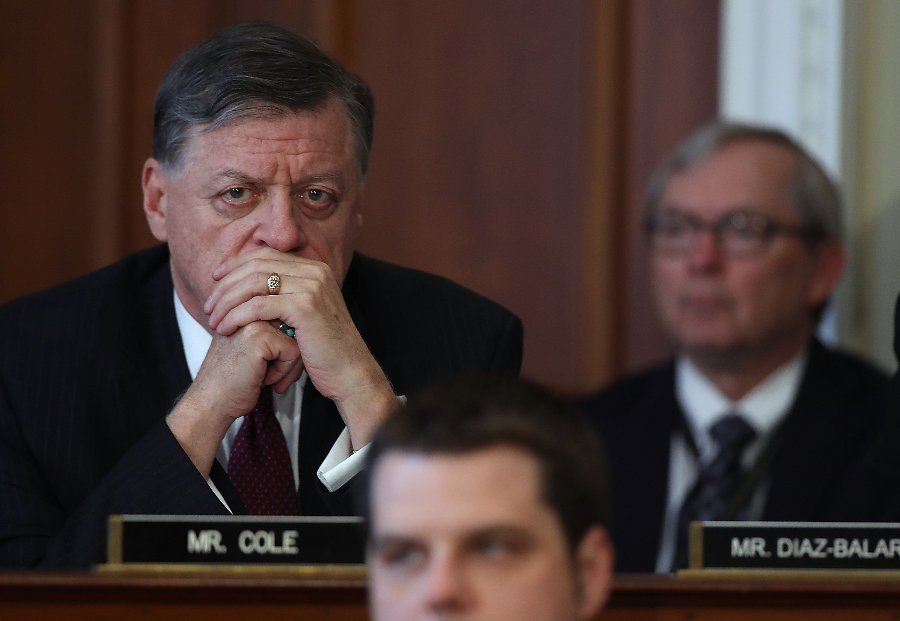 WASHINGTON, DC - MARCH 16:  U.S. Rep. Tom Cole (L) (R-OK) looks on during a House Budget Committee markup of the Republican health care bill on Capitol Hill  on March 16, 2017 in Washington, DC. The House Budget Committee voted 19 to 17 to approve legislation that will be sent to the full house to repeal the Affordable Care Act.  (Photo by Justin Sullivan/Getty Images)