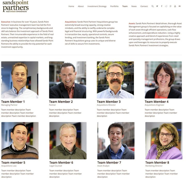 "The images of Sands Point Partners' ""executive team"" are entirely pulled from the actual executive team of an unr"