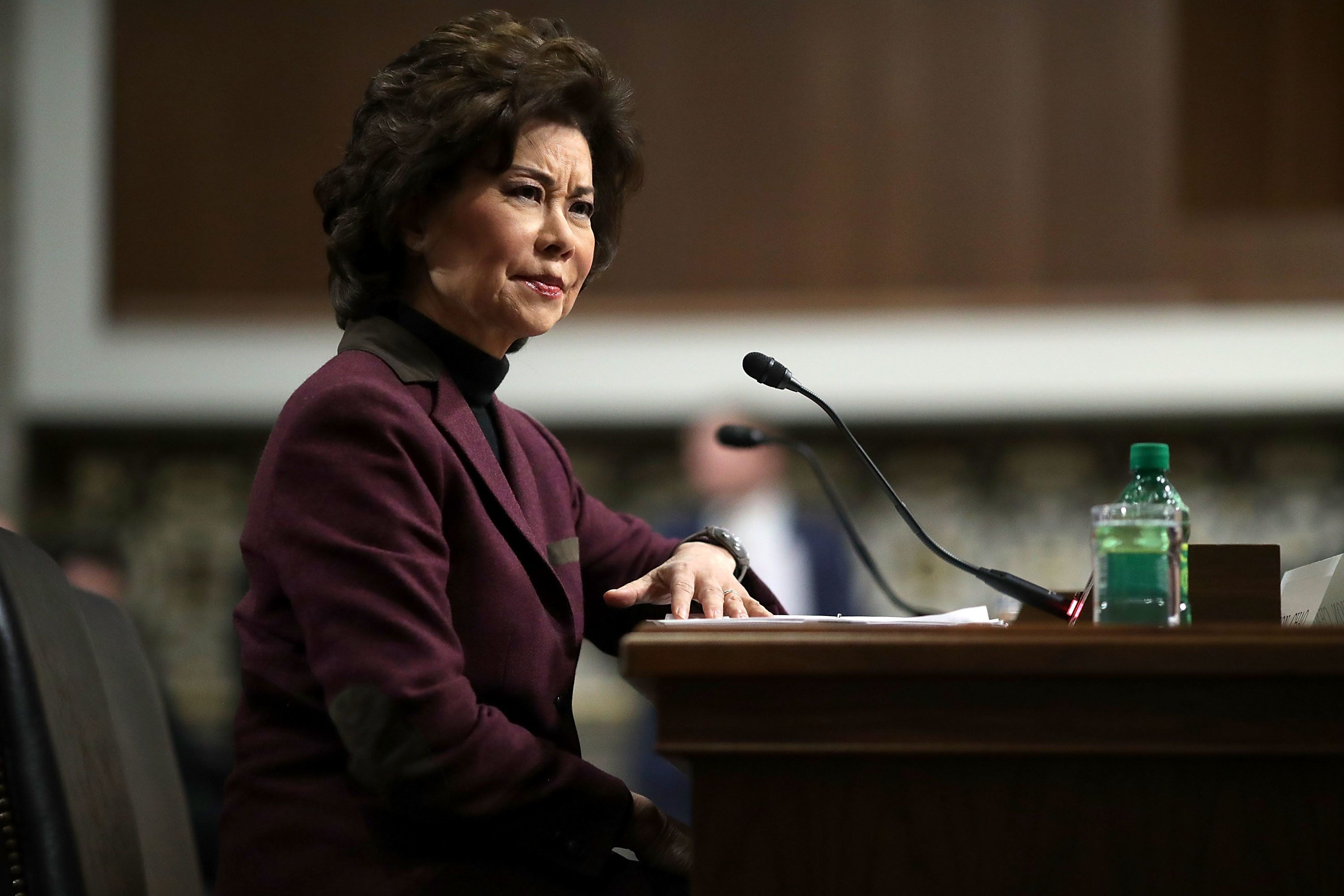 WASHINGTON, DC - JANUARY 11:  Elaine Chao testifies during her confirmation hearing to be the next U.S. secretary of transportation before the Senate Commerce, Science and Transportation Committee in the Dirksen Senate Office Building on Capitol Hill January 11, 2017 in Washington, DC. Chao, who has previously served as secretary of the Labor Department, was nominated by President-elect Donald Trump.  (Photo by Chip Somodevilla/Getty Images)