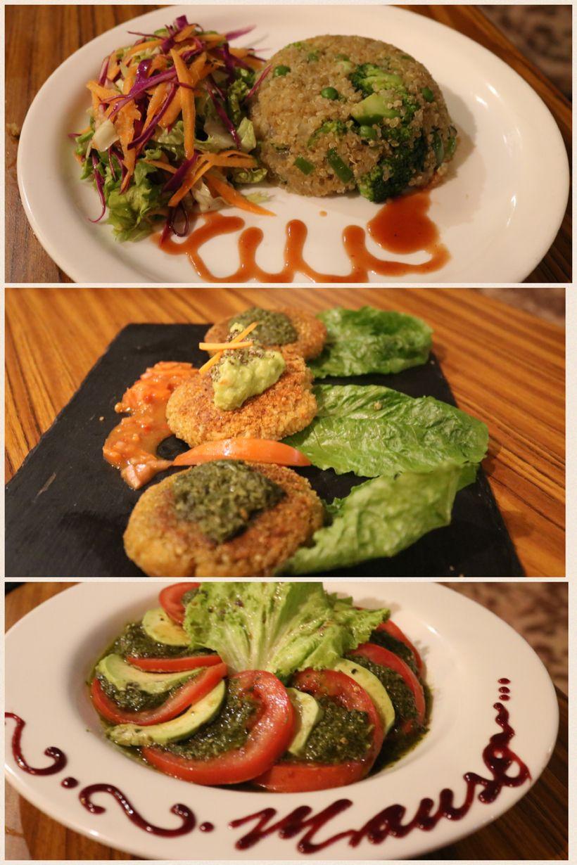 Broccoli Quinto, Inca Platter, Vegan Tower Salad
