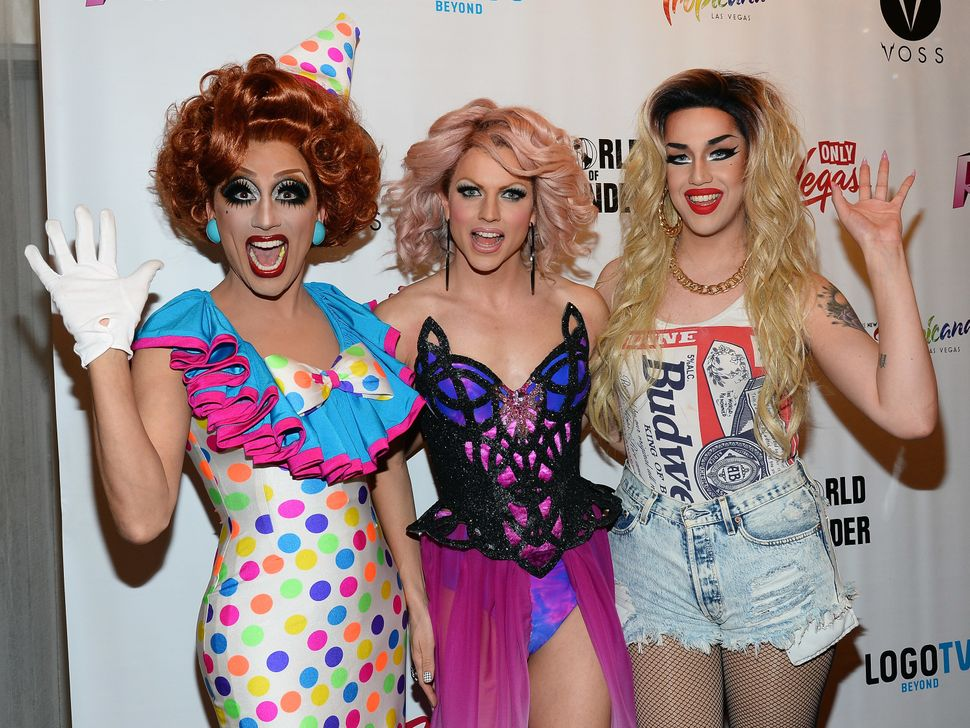 "Bianca Del Rio, Courtney Act and Adore Delano at the ""RuPaul's Drag Race"" at a viewing party for the season six finale."