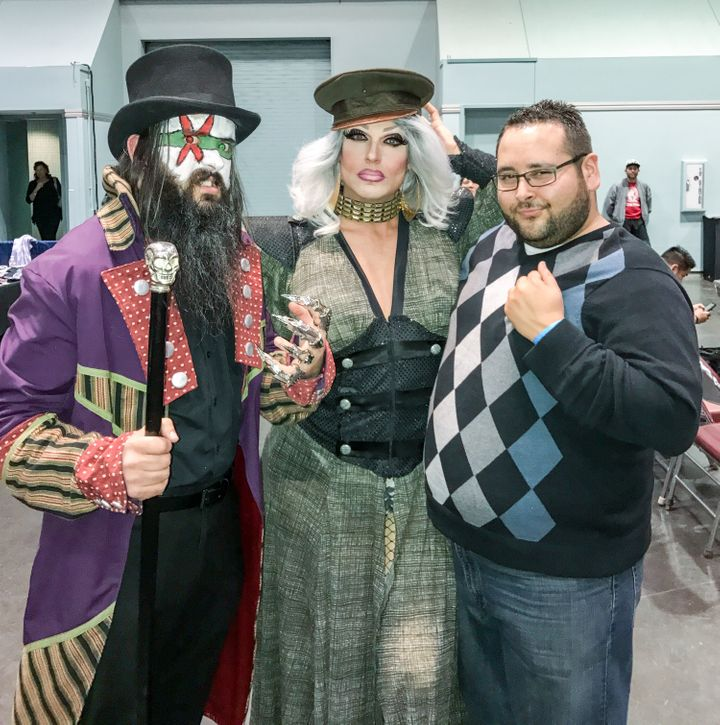 """The Cold One"" AC and ""The Voice"" Donovan Troi flank Pollo Del Mar at a recent Wrestling For Charity event at the Evolution S"