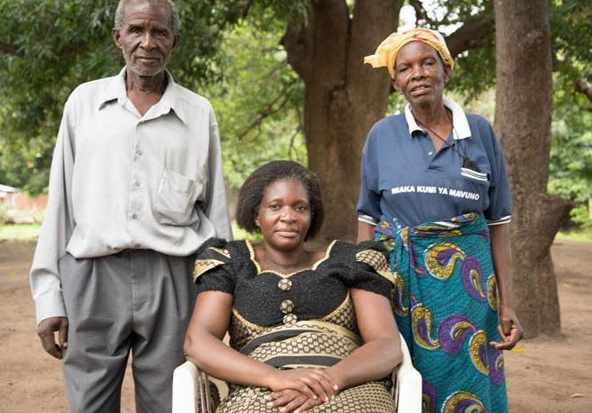 <p>Judith Ngwira and her parents Ida and Alexander in Northern Malawi</p>