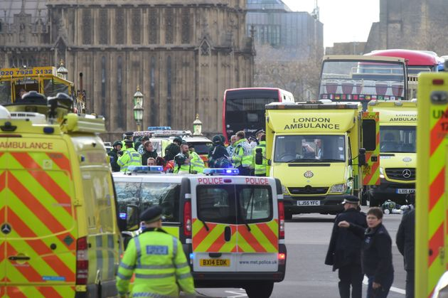 Emergency personnel on Westminster Bridge, close to the Palace of Westminster,