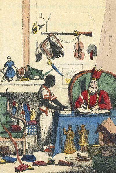 One of the first images of <em>Sinterklaas</em> and <em>Zwarte Piet</em>, presumably dating to 1832 or 1850.