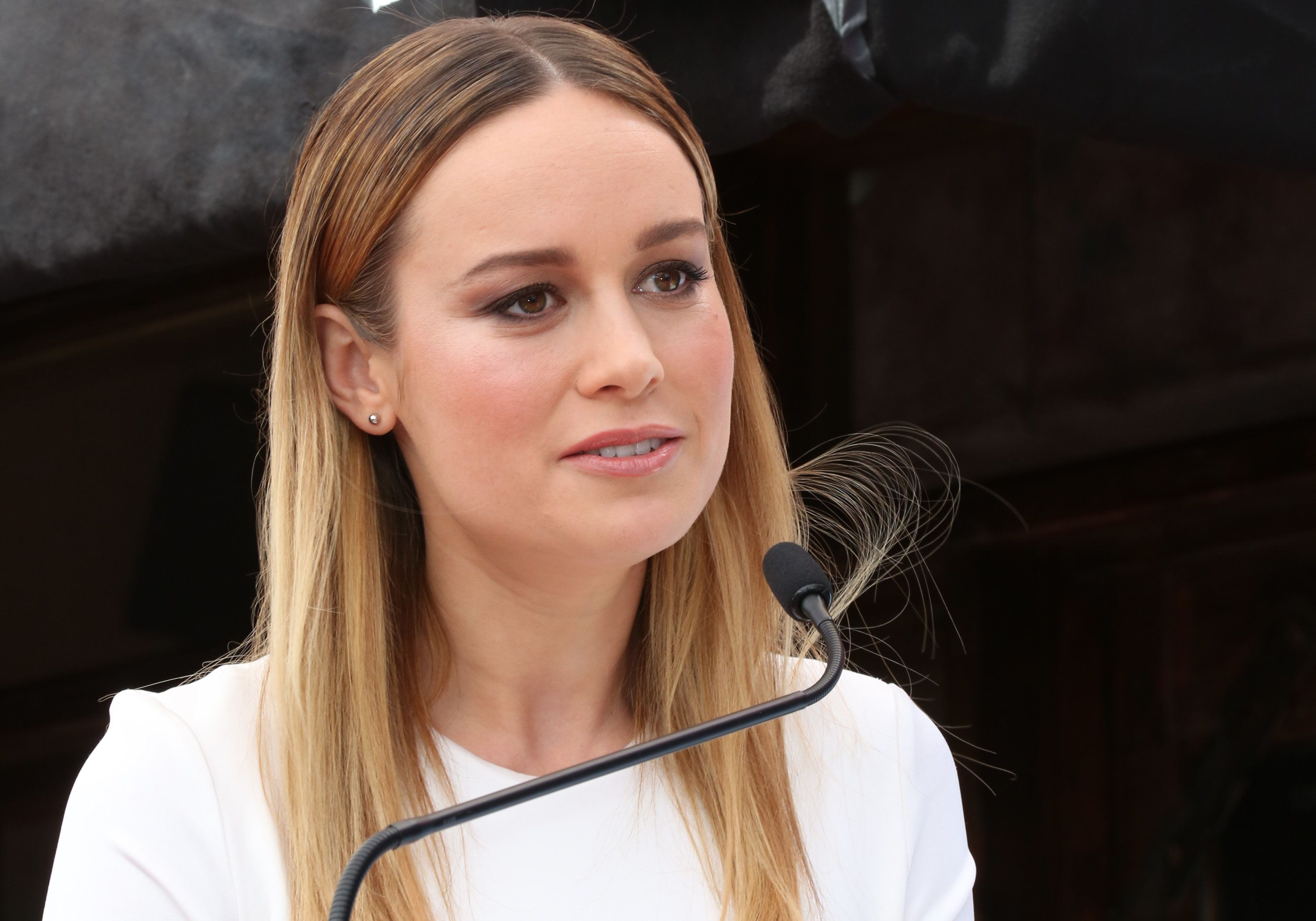 HOLLYWOOD, CA - MARCH 10:  Actress Brie Larson  attends the ceremony to honor John Goodman with a star on The Hollywood Walk of Fame on March 10, 2017 in Hollywood, California.  (Photo by Paul Archuleta/FilmMagic)