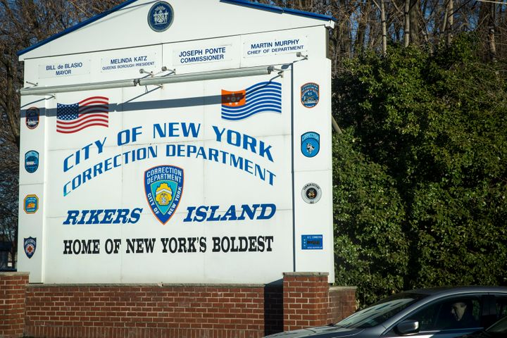 A car exits the Rikers Island Correctional Center in New York March 12, 2015.