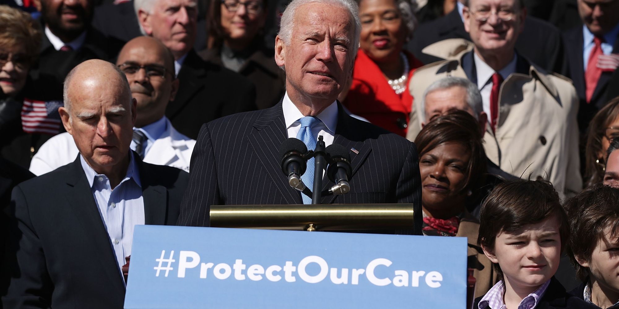 Jerry Brown Got Joe Biden Really Riled Up At A Health Care Rally