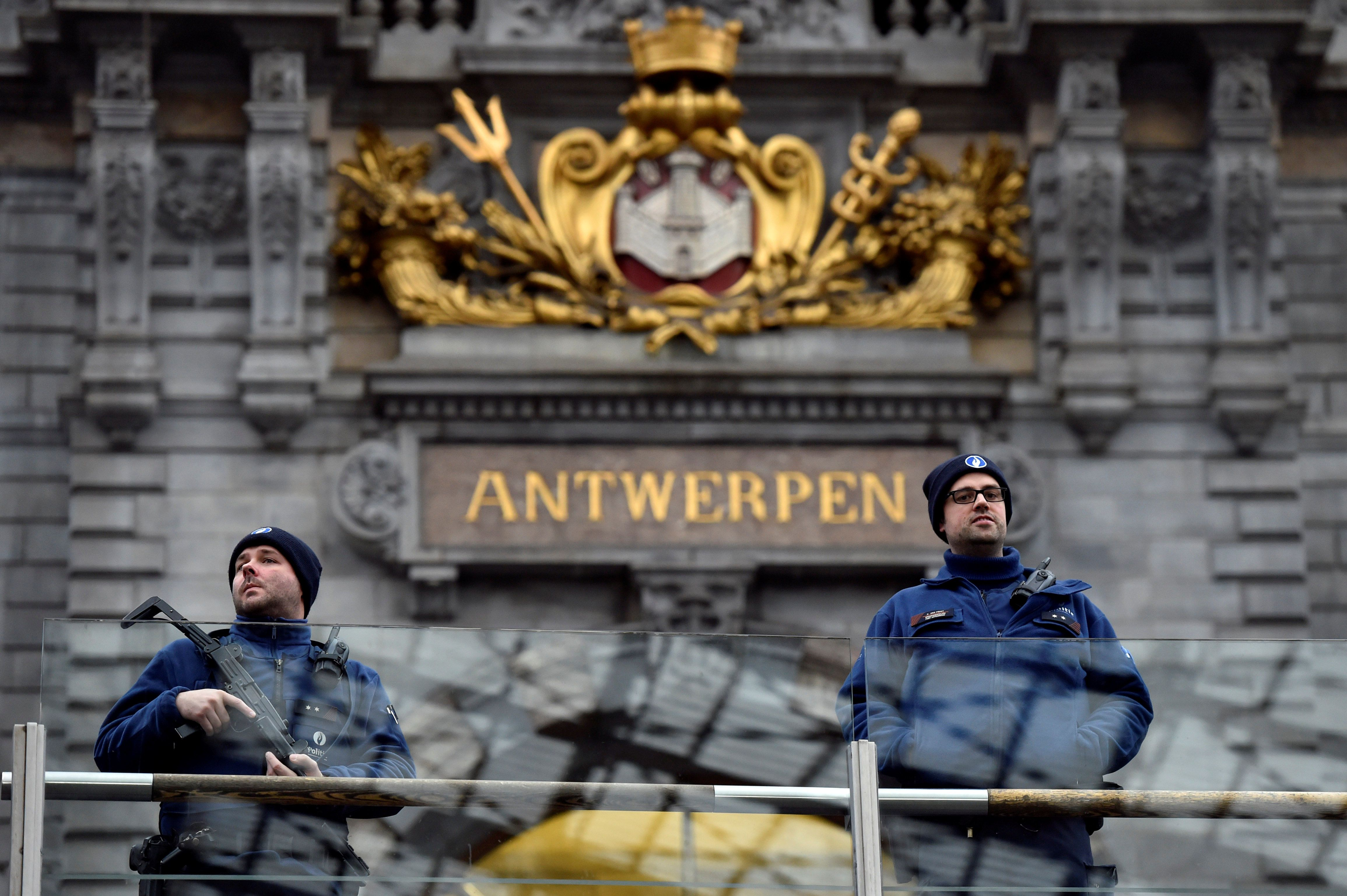 File photo of Belgium police officers patrolling Antwerp's central
