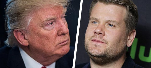 Donald Trump faces the music...ally inclined James Corden.
