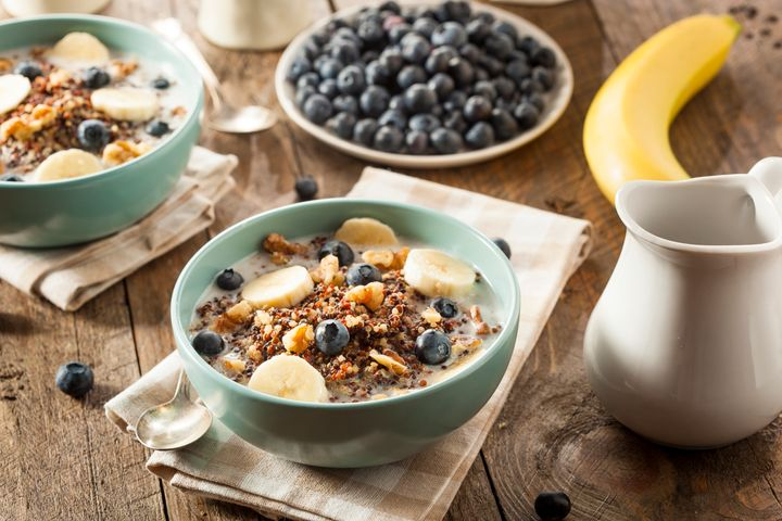 Organic Breakfast Quinoa with Nuts Milk and Berries bhofack2 via Getty Images