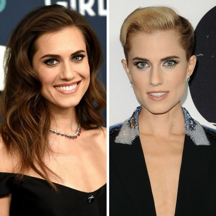 Allison Williams (L) on Feb. 2 in NYC and (R) on Feb. 10 in Los Angeles, Calif.
