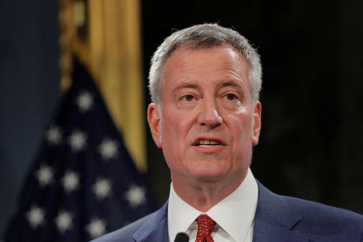 New York City Mayor Bill de Blasio discussesPresident Donald Trump's federal budget proposal at City Hall in New York C