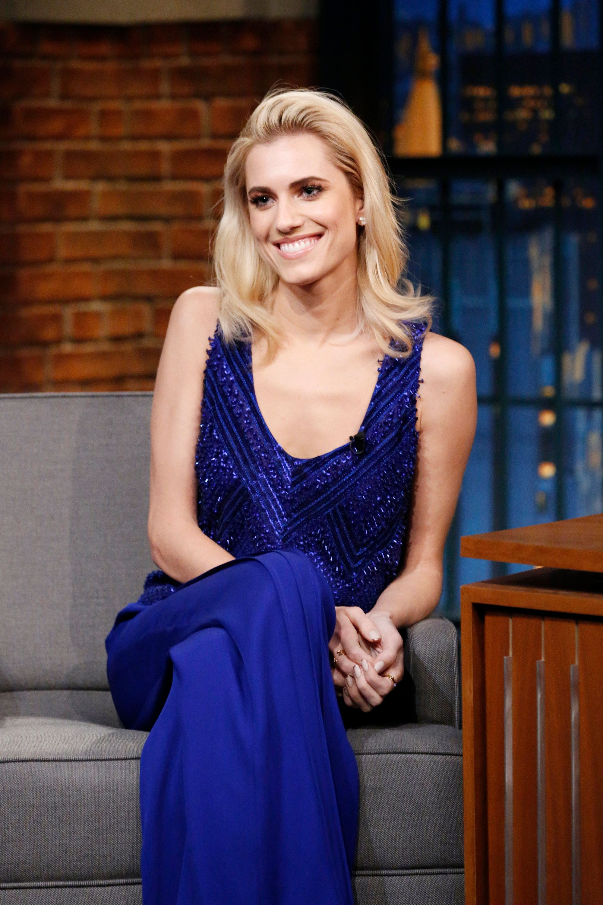 LATE NIGHT WITH SETH MEYERS -- Episode 495 -- Pictured: Actress Allison Williams during an interview on  February 23, 2017 -- (Photo by: Lloyd Bishop/NBC/NBCU Photo Bank via Getty Images)