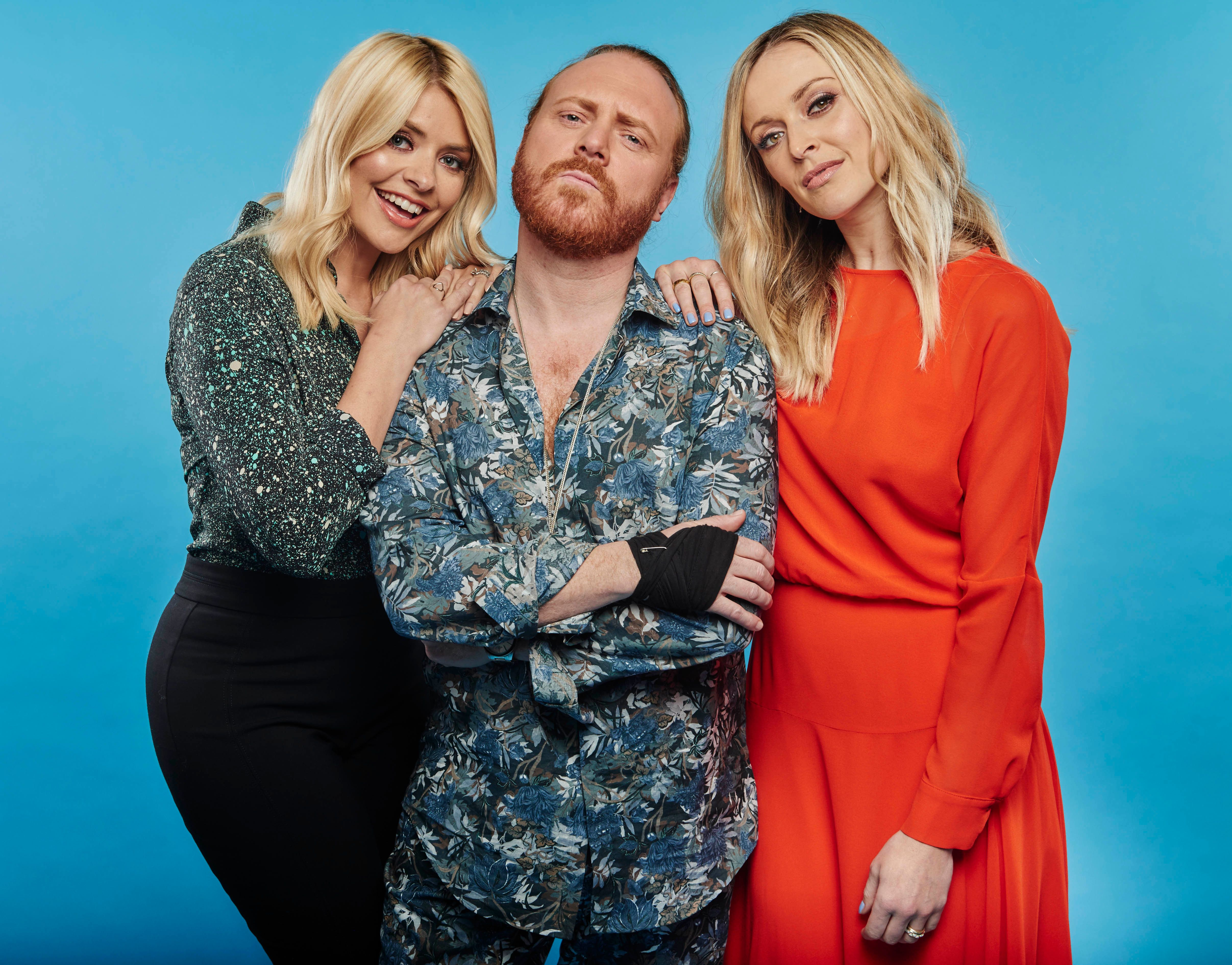 Keith with his 'Celebrity Juice' co-stars Holly Willoughby and Fearne