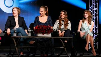 "(L-R) Creator, executive producer and actress Lena Dunham, and fellow actresses Jemima Kirke, Zosia Mamet and Allison Williams talk about HBO's ""Girls"" during the Winter 2014 TCA presentations in Pasadena, California, January 9, 2014. REUTERS/Lucy Nicholson (UNITED STATES - Tags: ENTERTAINMENT)"