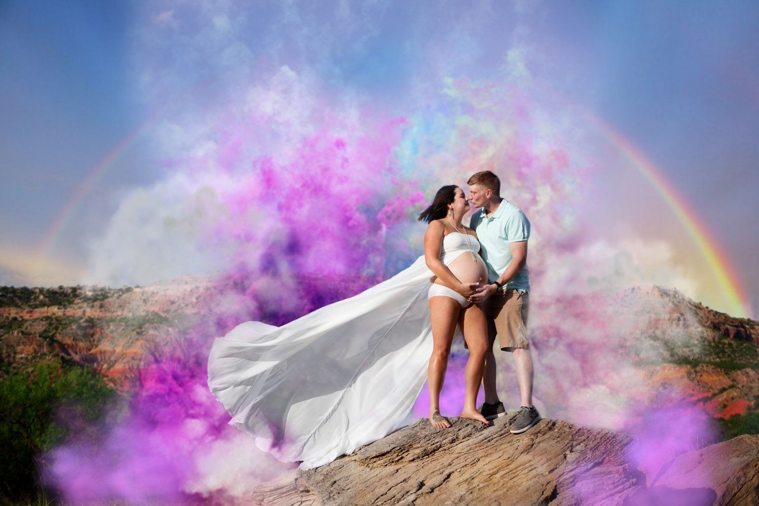 Brittney Studer of Brit Nicole Photography edited a photo of Britni and Jacob Lamance so they could celebrate their kids born