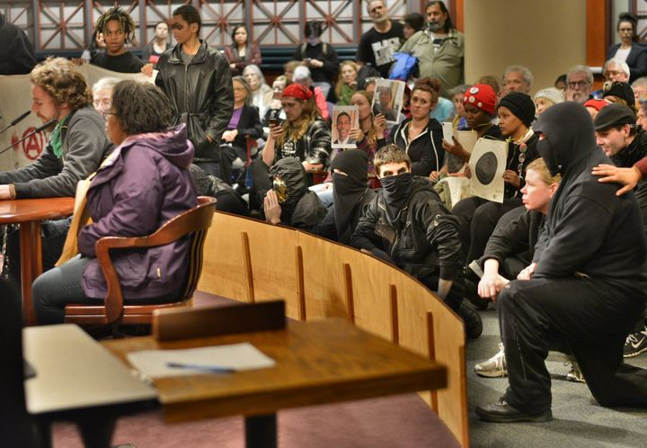 Anarchists in solidarity with Don't Shoot Portland at Portland City Council meeting