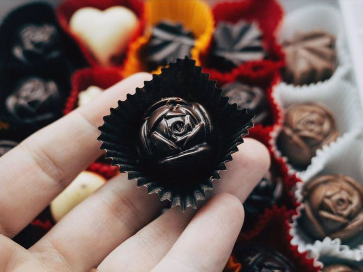 <p>The damascus rose chocolate from Peace by Chocolate.</p>
