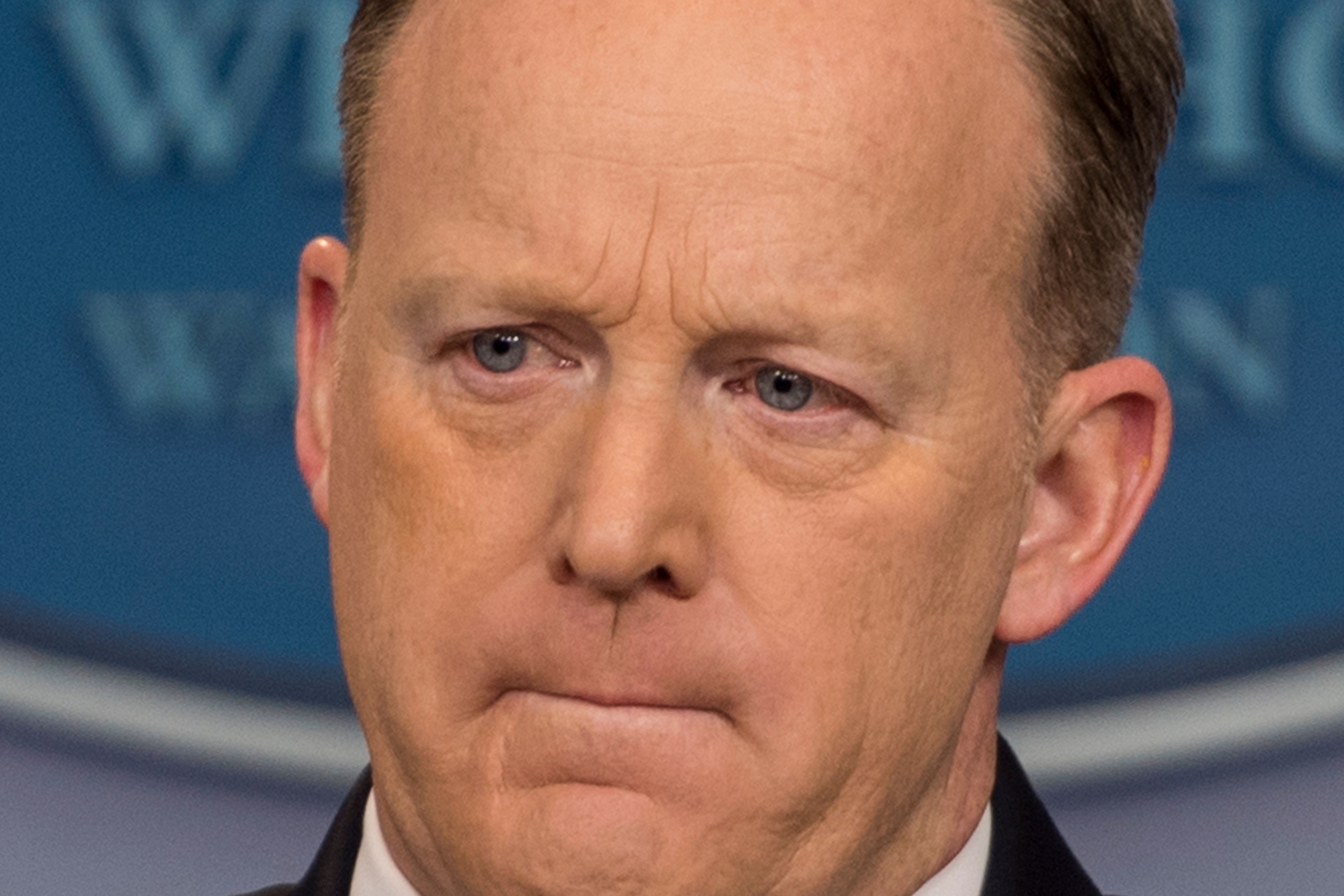 White House Press Secretary Sean Spicer takes questions during the Daily Briefing at the White House in Washington, DC, March 22, 2017. / AFP PHOTO / JIM WATSON        (Photo credit should read JIM WATSON/AFP/Getty Images)
